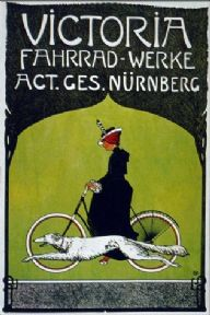Vintage German cycling poster - Victoria cycle-works